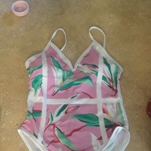 NWOT Pink Tropical Bathing suit